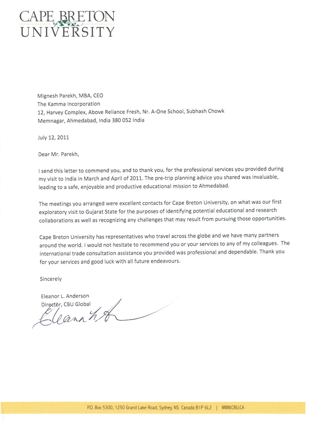 welcome to the kamma incorporation reference letter